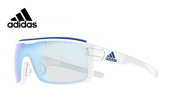 Prescription Sports Glasses from Adidas Zonyk in white with blue mirror lens
