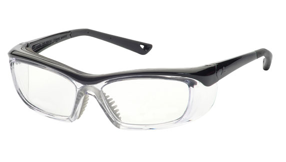 Prescription safety glasses by Leader model 220 in black with side shield protection